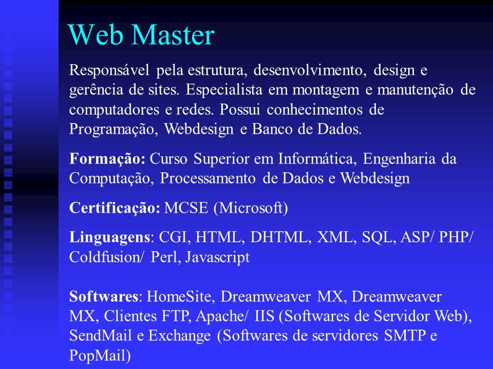 Web Master Responsável pela estrutura, desenvolvimento, design e gerência de sites.