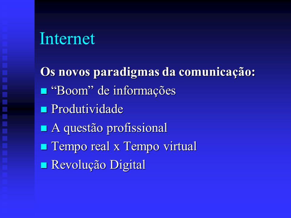 Internet Os novos paradigmas da comunicação: Boom de informações Boom de informações Produtividade Produtividade A questão profissional A questão profissional Tempo real x Tempo virtual Tempo real x Tempo virtual Revolução Digital Revolução Digital