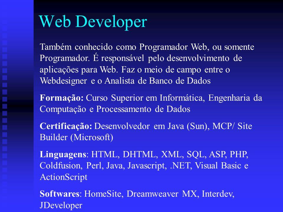 Web Developer Também conhecido como Programador Web, ou somente Programador.