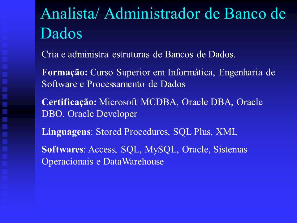 Analista/ Administrador de Banco de Dados Cria e administra estruturas de Bancos de Dados.