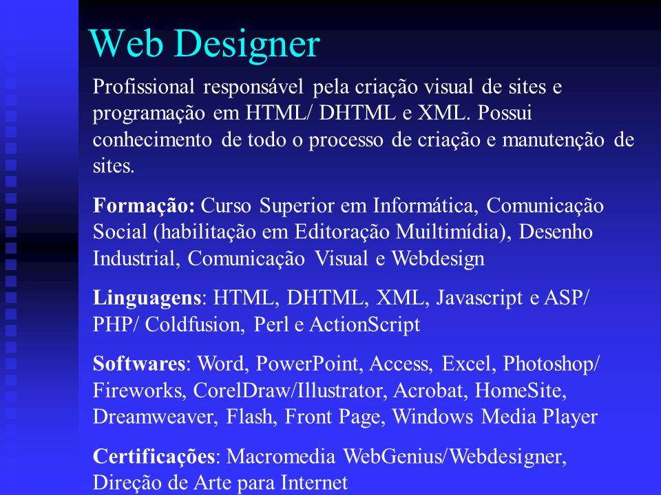 Web Designer Profissional responsável pela criação visual de sites e programação em HTML/ DHTML e XML.