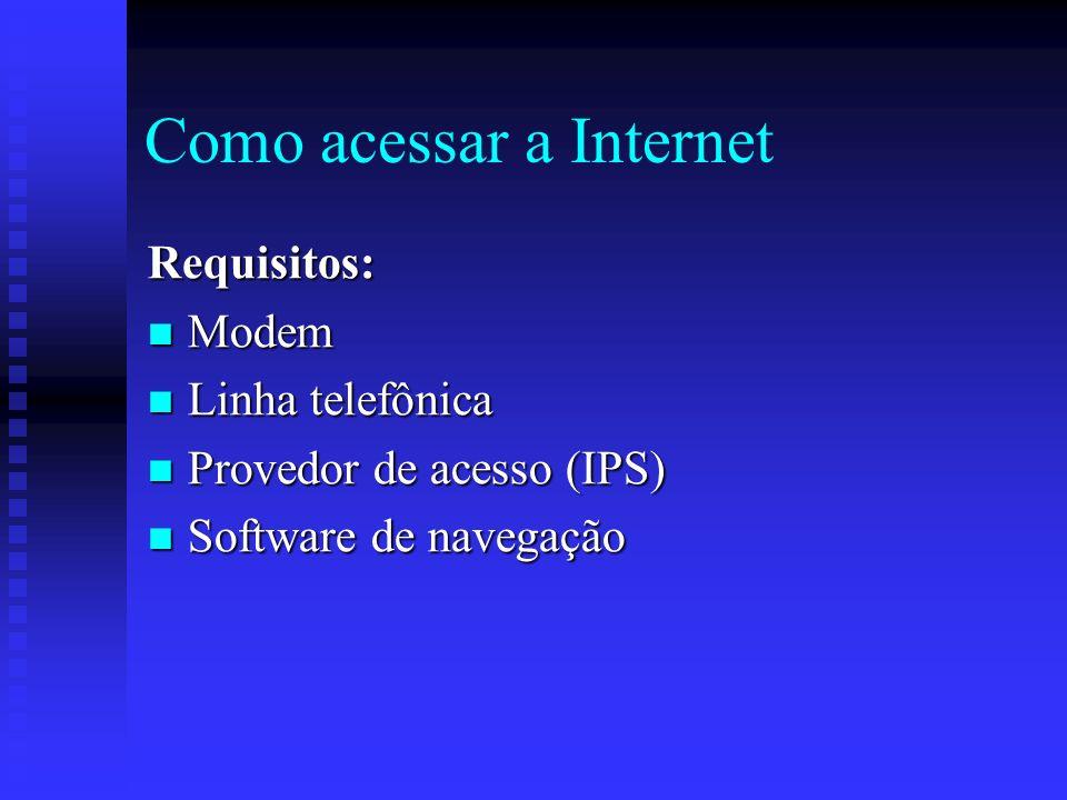 Como acessar a Internet Requisitos: Modem Modem Linha telefônica Linha telefônica Provedor de acesso (IPS) Provedor de acesso (IPS) Software de navegação Software de navegação