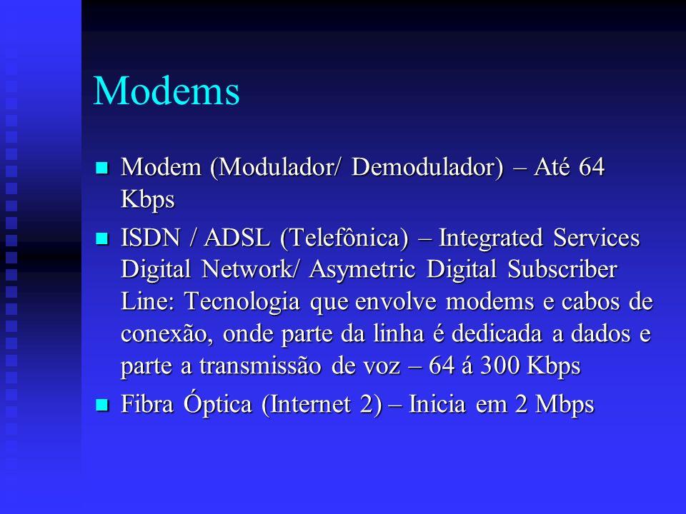 Modems Modem (Modulador/ Demodulador) – Até 64 Kbps Modem (Modulador/ Demodulador) – Até 64 Kbps ISDN / ADSL (Telefônica) – Integrated Services Digital Network/ Asymetric Digital Subscriber Line: Tecnologia que envolve modems e cabos de conexão, onde parte da linha é dedicada a dados e parte a transmissão de voz – 64 á 300 Kbps ISDN / ADSL (Telefônica) – Integrated Services Digital Network/ Asymetric Digital Subscriber Line: Tecnologia que envolve modems e cabos de conexão, onde parte da linha é dedicada a dados e parte a transmissão de voz – 64 á 300 Kbps Fibra Óptica (Internet 2) – Inicia em 2 Mbps Fibra Óptica (Internet 2) – Inicia em 2 Mbps