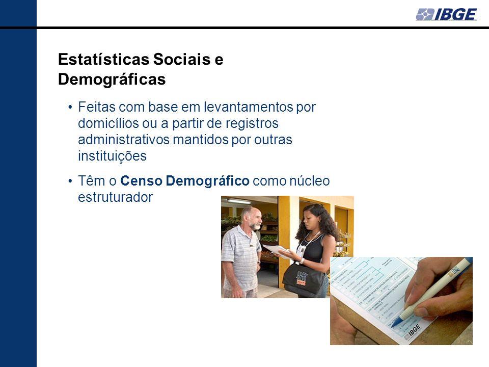 Estatísticas Sociais e Demográficas Feitas com base em levantamentos por domicílios ou a partir de registros administrativos mantidos por outras insti
