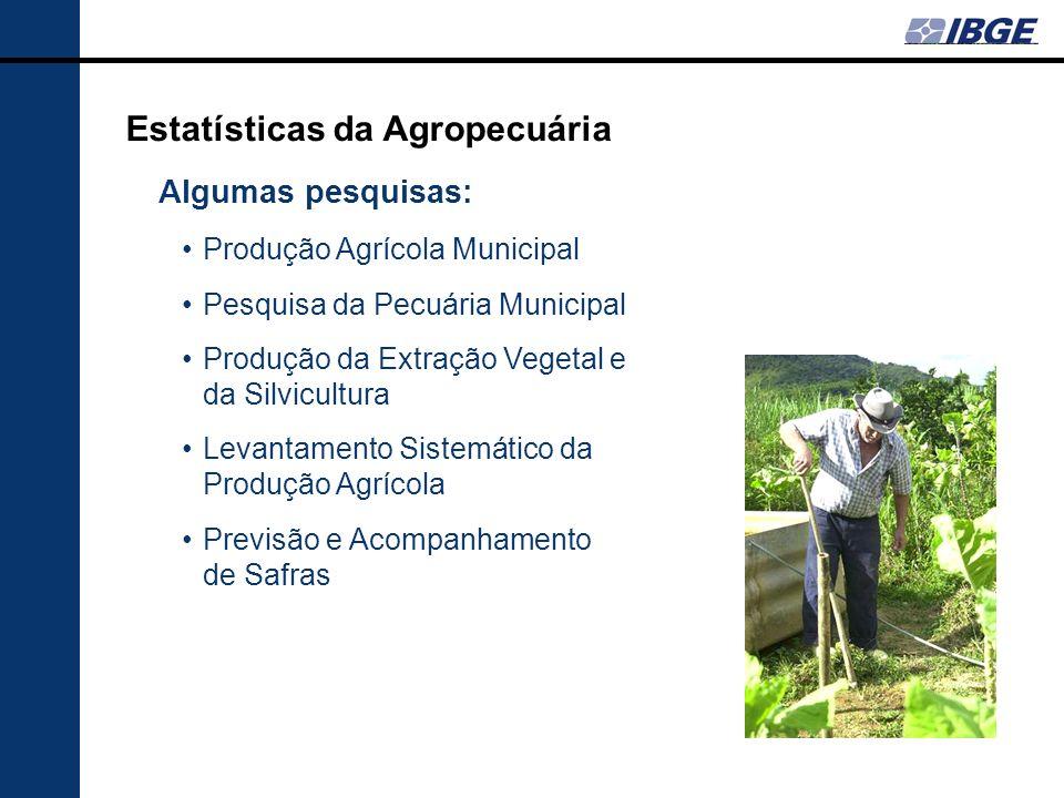 Estatísticas da Agropecuária Algumas pesquisas: Produção Agrícola Municipal Pesquisa da Pecuária Municipal Produção da Extração Vegetal e da Silvicult