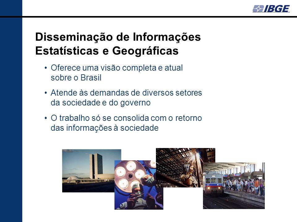 Disseminação de Informações Estatísticas e Geográficas Oferece uma visão completa e atual sobre o Brasil Atende às demandas de diversos setores da soc