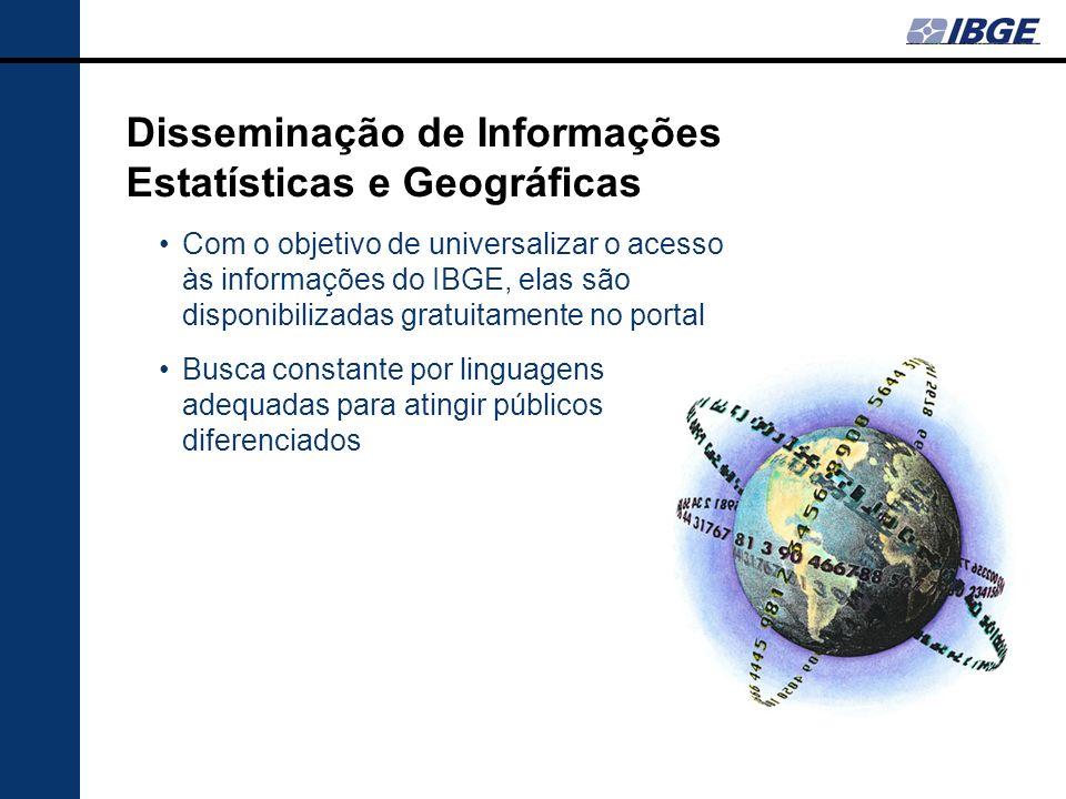 Disseminação de Informações Estatísticas e Geográficas Com o objetivo de universalizar o acesso às informações do IBGE, elas são disponibilizadas grat