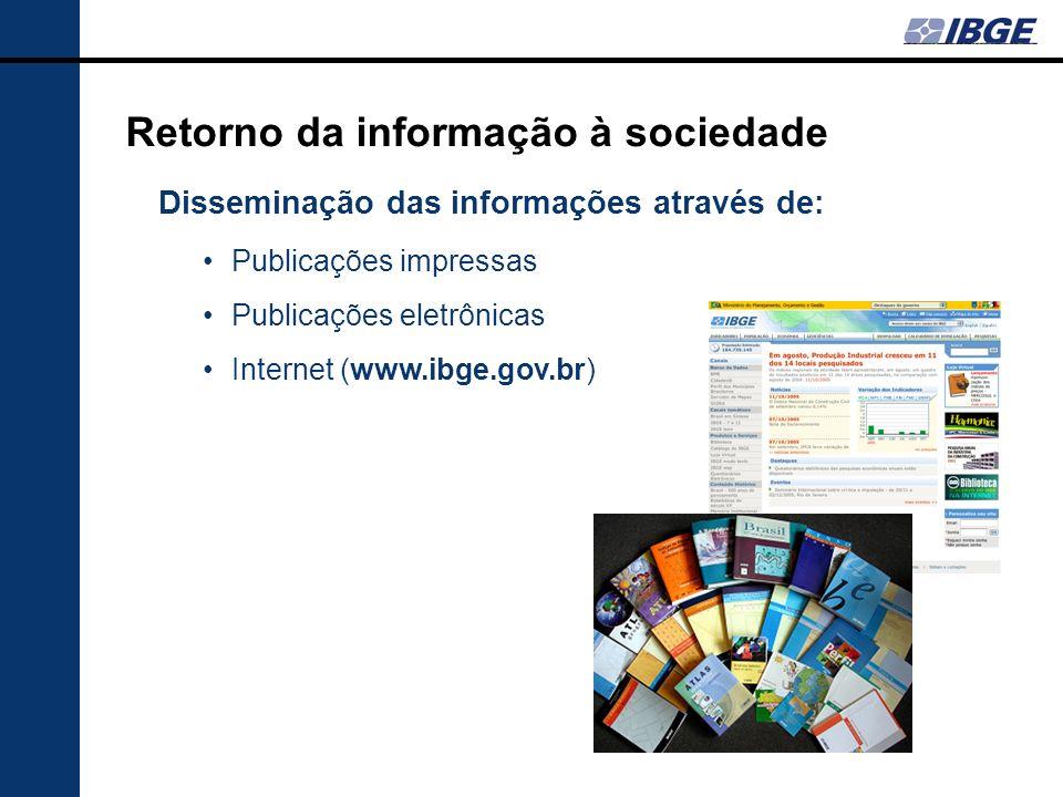 Retorno da informação à sociedade Disseminação das informações através de: Publicações impressas Publicações eletrônicas Internet (www.ibge.gov.br)
