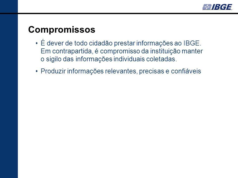 Compromissos É dever de todo cidadão prestar informações ao IBGE. Em contrapartida, é compromisso da instituição manter o sigilo das informações indiv