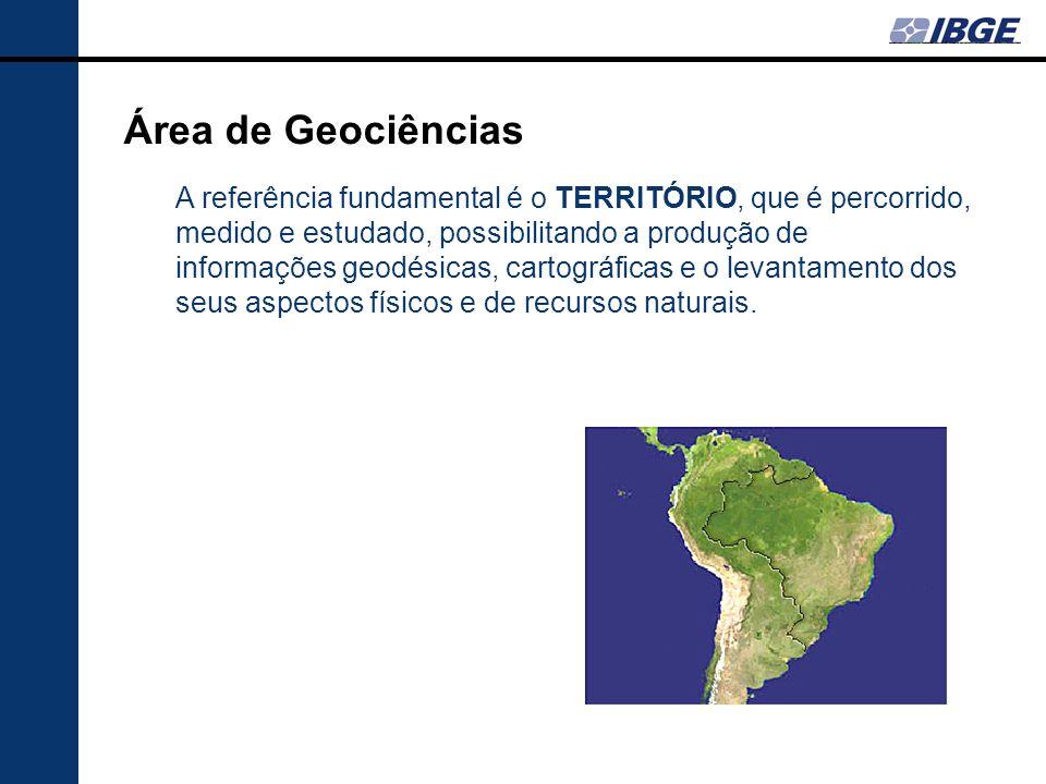 Área de Geociências A referência fundamental é o TERRITÓRIO, que é percorrido, medido e estudado, possibilitando a produção de informações geodésicas,