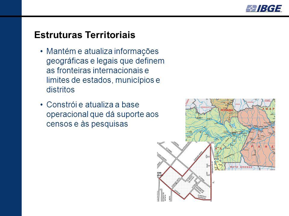 Estruturas Territoriais Mantém e atualiza informações geográficas e legais que definem as fronteiras internacionais e limites de estados, municípios e