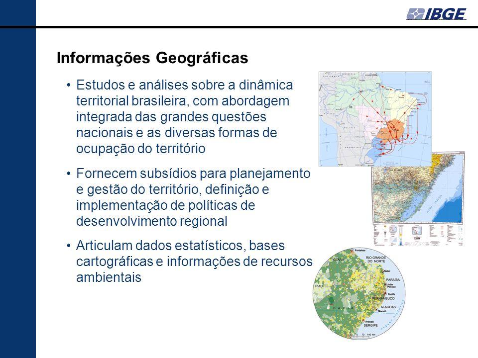 Informações Geográficas Estudos e análises sobre a dinâmica territorial brasileira, com abordagem integrada das grandes questões nacionais e as divers