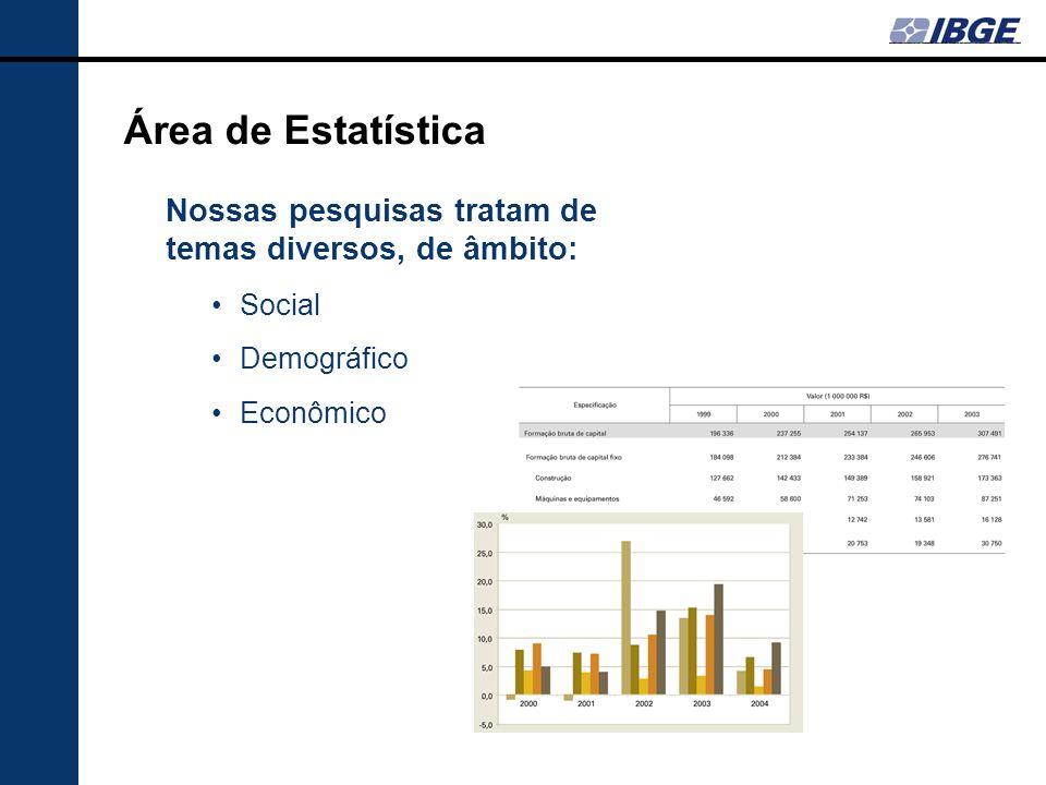 Área de Estatística Nossas pesquisas tratam de temas diversos, de âmbito: Social Demográfico Econômico