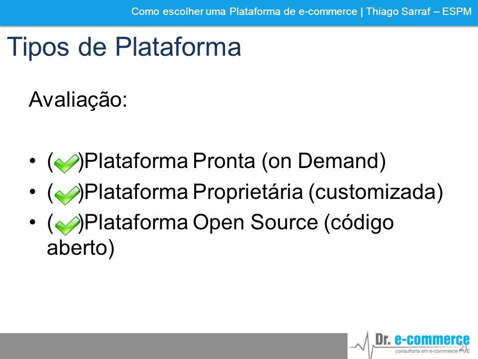 Como escolher uma Plataforma de e-commerce | Thiago Sarraf – ESPM Tipos de Plataforma Avaliação: ( )Plataforma Pronta (on Demand) ( )Plataforma Propri
