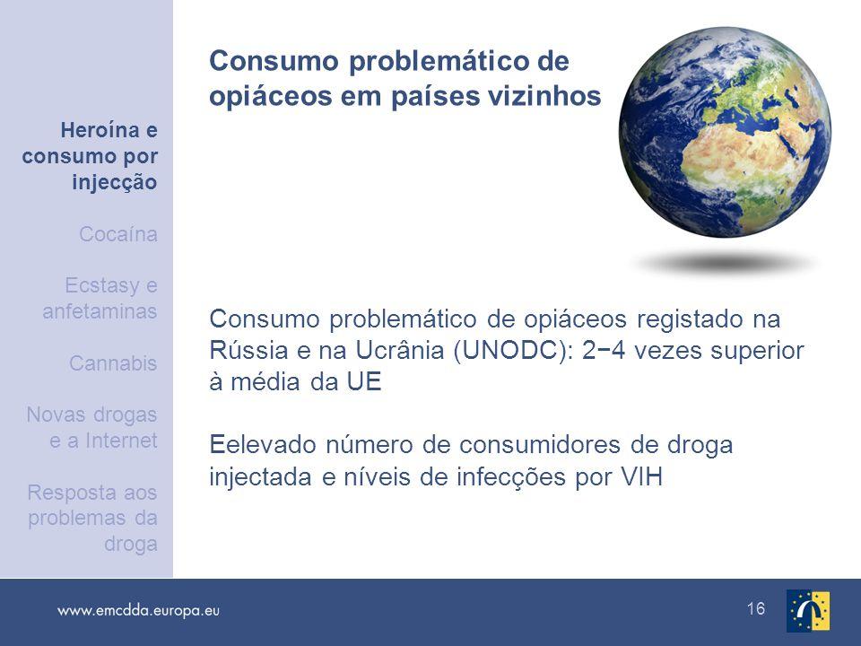 16 Consumo problemático de opiáceos registado na Rússia e na Ucrânia (UNODC): 24 vezes superior à média da UE Eelevado número de consumidores de droga