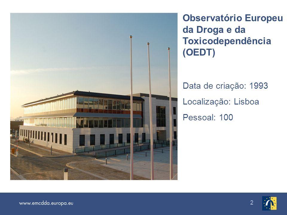 2 Observatório Europeu da Droga e da Toxicodependência (OEDT) Data de criação: 1993 Localização: Lisboa Pessoal: 100