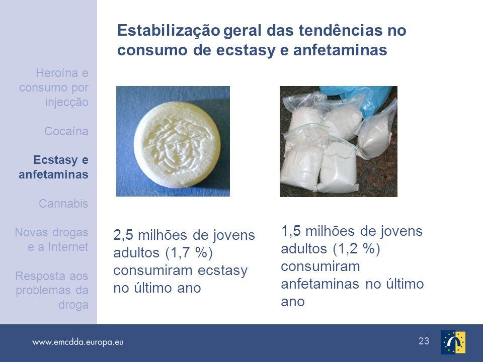 23 2,5 milhões de jovens adultos (1,7 %) consumiram ecstasy no último ano 1,5 milhões de jovens adultos (1,2 %) consumiram anfetaminas no último ano E