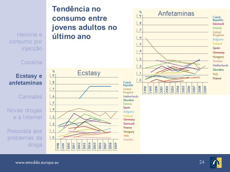 24 Tendência no consumo entre jovens adultos no último ano Ecstasy Anfetaminas Heroína e consumo por injecção Cocaína Ecstasy e anfetaminas Cannabis N