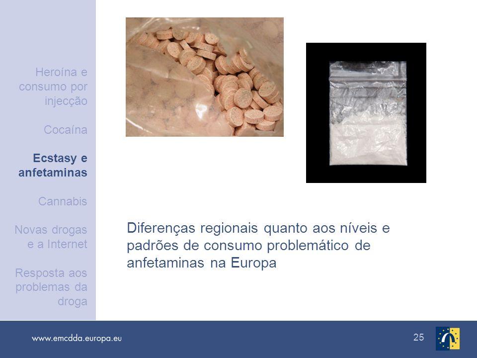 25 Diferenças regionais quanto aos níveis e padrões de consumo problemático de anfetaminas na Europa Heroína e consumo por injecção Cocaína Ecstasy e