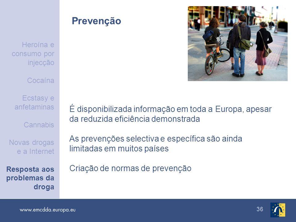 36 Prevenção É disponibilizada informação em toda a Europa, apesar da reduzida eficiência demonstrada As prevenções selectiva e específica são ainda l