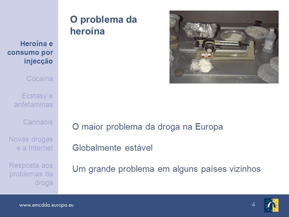 5 Cerca de 1,35 milhões na UE e na Noruega: 0,4 % da população adulta Estimativas nacionais recentes: 0,1 a 0,8 % da população adulta Consumidores problemáticos de de opiáceos Heroína e consumo por injecção Cocaína Ecstasy e anfetaminas Cannabis Novas drogas e a Internet Resposta aos problemas da droga
