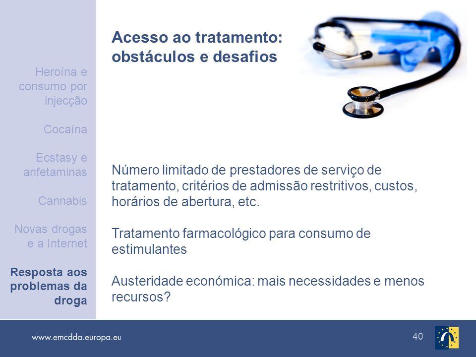 40 Acesso ao tratamento: obstáculos e desafios Número limitado de prestadores de serviço de tratamento, critérios de admissão restritivos, custos, hor