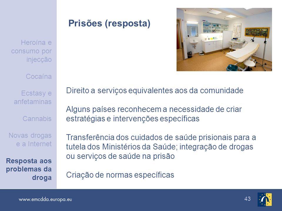 43 Prisões (resposta) Direito a serviços equivalentes aos da comunidade Alguns países reconhecem a necessidade de criar estratégias e intervenções esp