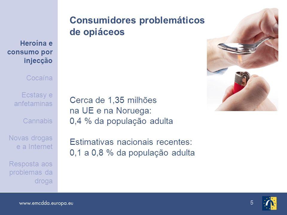 5 Cerca de 1,35 milhões na UE e na Noruega: 0,4 % da população adulta Estimativas nacionais recentes: 0,1 a 0,8 % da população adulta Consumidores pro
