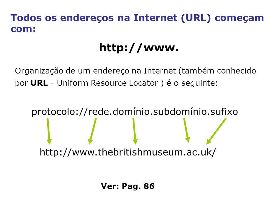 Todos os endereços na Internet (URL) começam com: http://www. Organização de um endereço na Internet (também conhecido por URL - Uniform Resource Loca