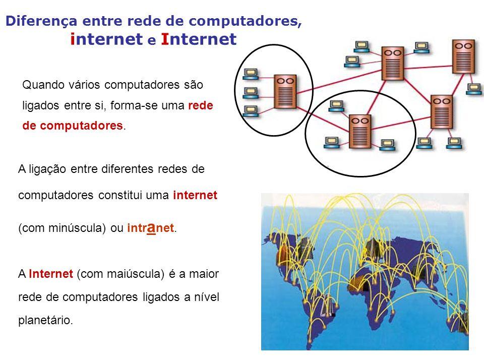 Diferença entre rede de computadores, internet e Internet A Internet (com maiúscula) é a maior rede de computadores ligados a nível planetário. Quando