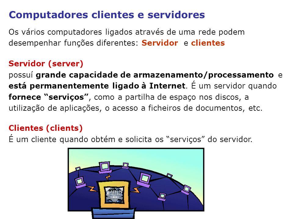 Computadores clientes e servidores Os vários computadores ligados através de uma rede podem desempenhar funções diferentes: Servidor e clientes Client