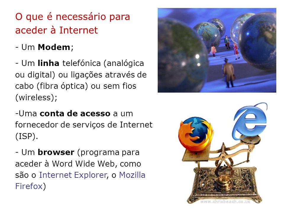 O que é necessário para aceder à Internet - Um Modem; - Um linha telefónica (analógica ou digital) ou ligações através de cabo (fibra óptica) ou sem f