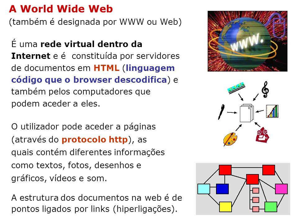 A World Wide Web (também é designada por WWW ou Web) É uma rede virtual dentro da Internet e é constituída por servidores de documentos em HTML (lingu