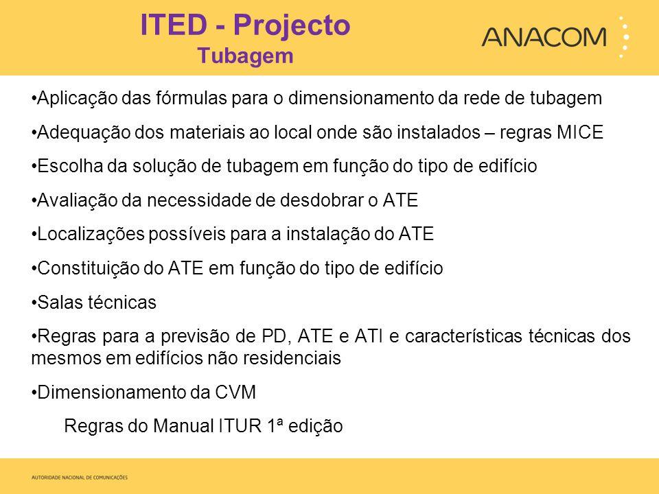 ITED - Instalação Tubagem Cumprimento dos ângulos e raios de curvatura previstos O raio de curvatura dos tubos deve ser superior ou igual a 6 vezes o diâmetro externo dos tubos.