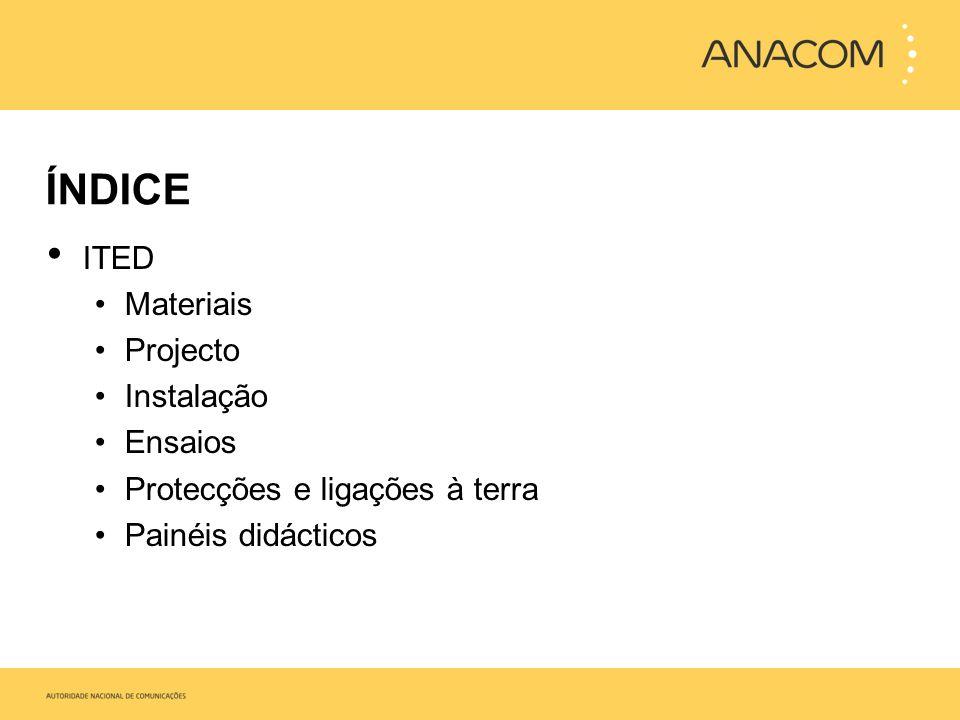 ÍNDICE ITUR Materiais Projecto Instalação Ensaios Simulações práticas