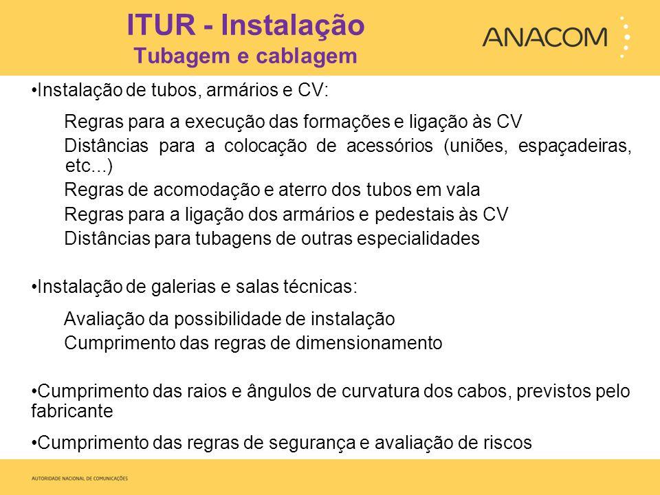 ITUR - Ensaios Tubagem e cablagem Realização dos ensaios previstos no Manual ITUR, na ITUR executada Execução de ensaios e do REF Equipamento para os ensaios de desobstrução da tubagem, mandril: