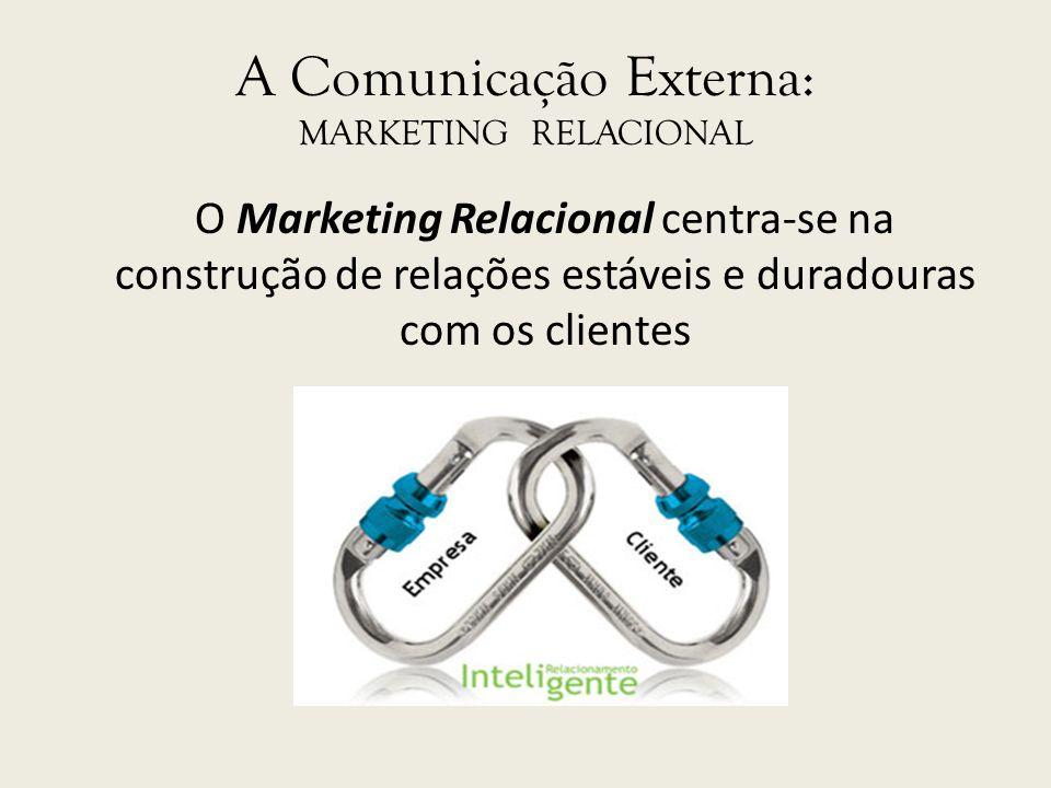 A Comunicação Externa: MARKETING RELACIONAL O Marketing Relacional centra-se na construção de relações estáveis e duradouras com os clientes