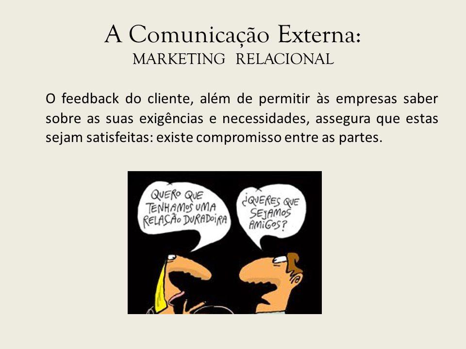 A Comunicação Externa: MARKETING RELACIONAL O feedback do cliente, além de permitir às empresas saber sobre as suas exigências e necessidades, assegur