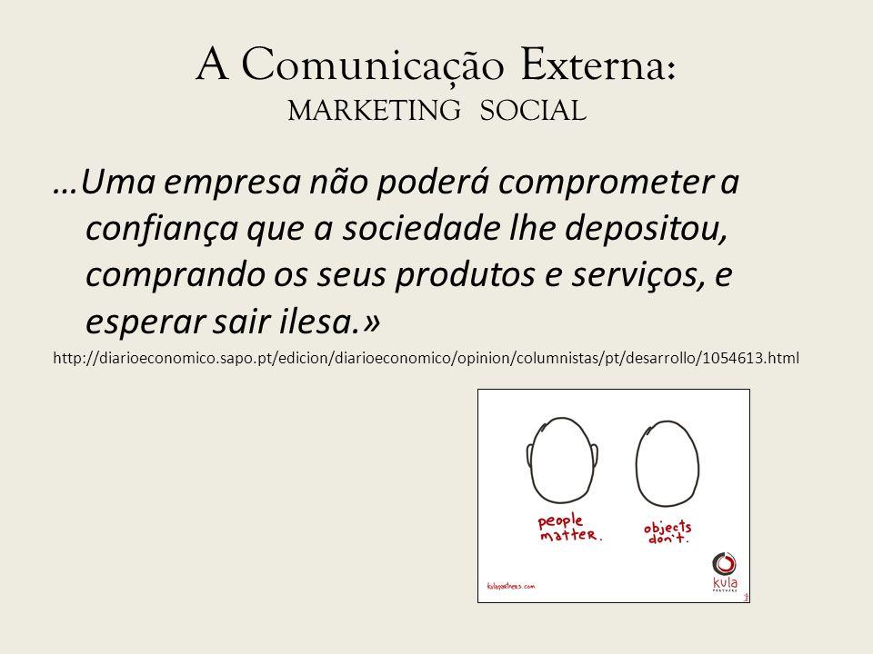 A Comunicação Externa: MARKETING SOCIAL …Uma empresa não poderá comprometer a confiança que a sociedade lhe depositou, comprando os seus produtos e se