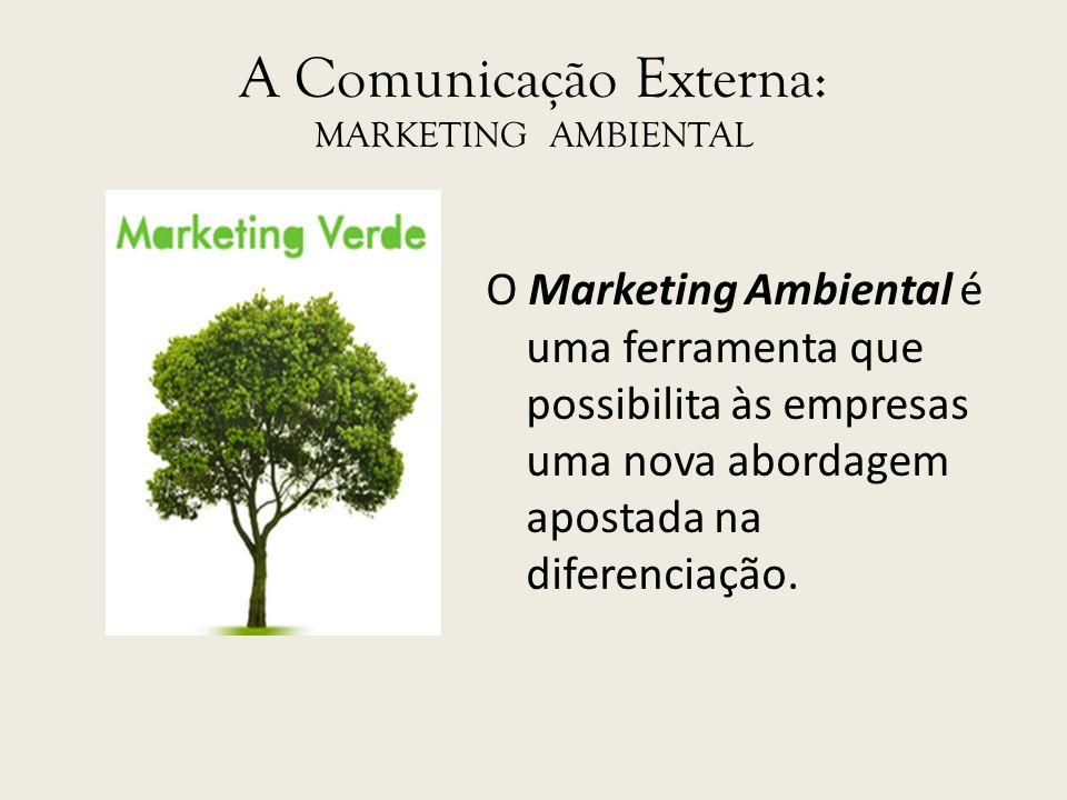 A Comunicação Externa: MARKETING AMBIENTAL O Marketing Ambiental é uma ferramenta que possibilita às empresas uma nova abordagem apostada na diferenci