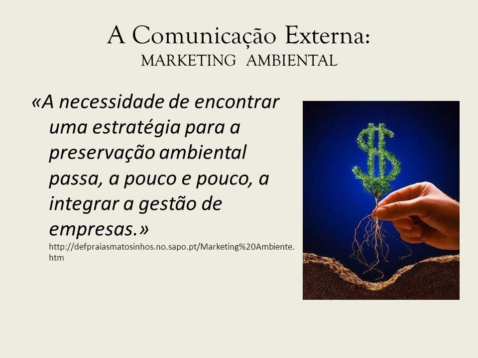 A Comunicação Externa: MARKETING AMBIENTAL «A necessidade de encontrar uma estratégia para a preservação ambiental passa, a pouco e pouco, a integrar