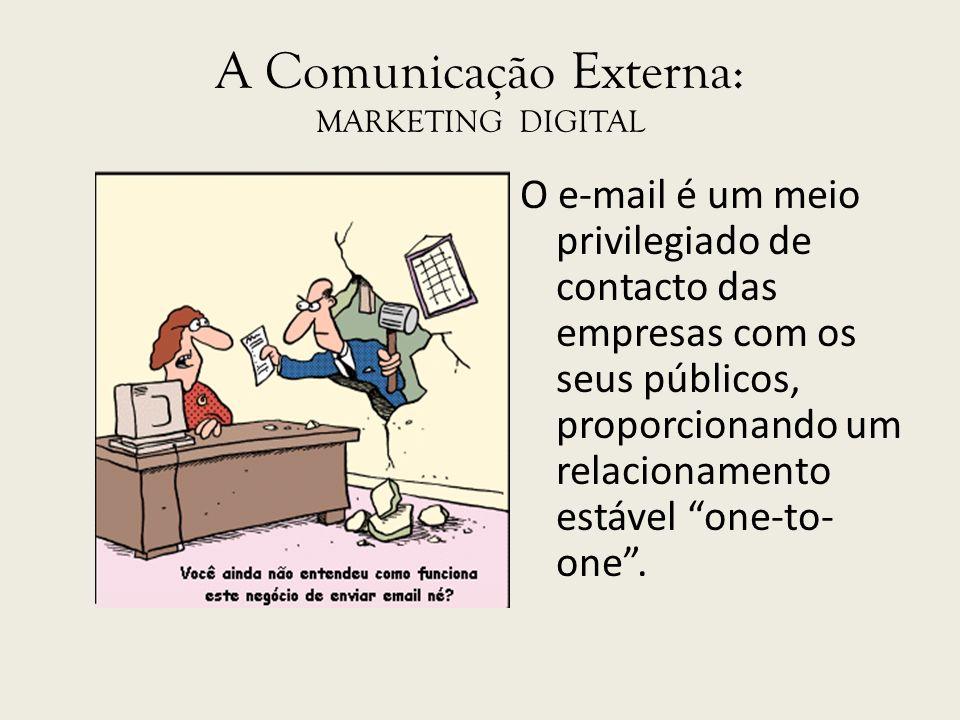 A Comunicação Externa: MARKETING DIGITAL O e-mail é um meio privilegiado de contacto das empresas com os seus públicos, proporcionando um relacionamen