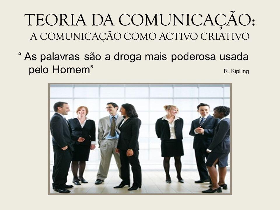 TEORIA DA COMUNICAÇÃO: A COMUNICAÇÃO COMO ACTIVO CRIATIVO As palavras são a droga mais poderosa usada pelo Homem R. Kiplling