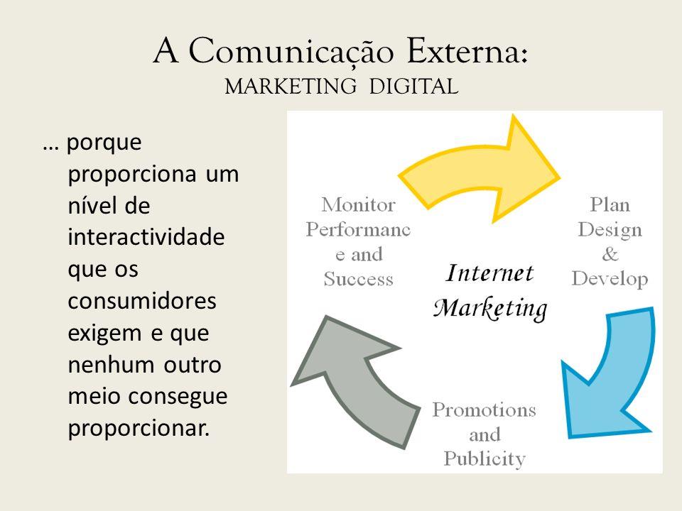 A Comunicação Externa: MARKETING DIGITAL … porque proporciona um nível de interactividade que os consumidores exigem e que nenhum outro meio consegue