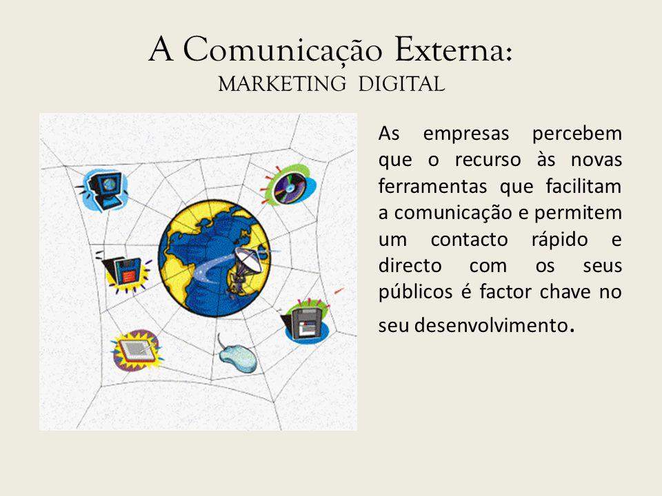 A Comunicação Externa: MARKETING DIGITAL As empresas percebem que o recurso às novas ferramentas que facilitam a comunicação e permitem um contacto rá