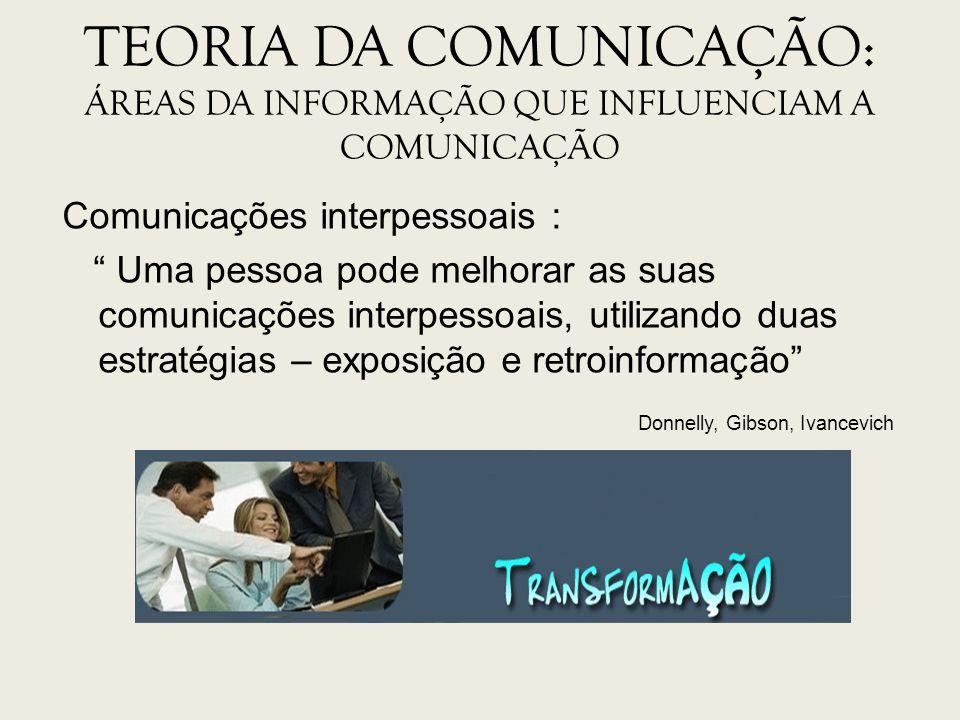TEORIA DA COMUNICAÇÃO: ÁREAS DA INFORMAÇÃO QUE INFLUENCIAM A COMUNICAÇÃO Comunicações interpessoais : Uma pessoa pode melhorar as suas comunicações in