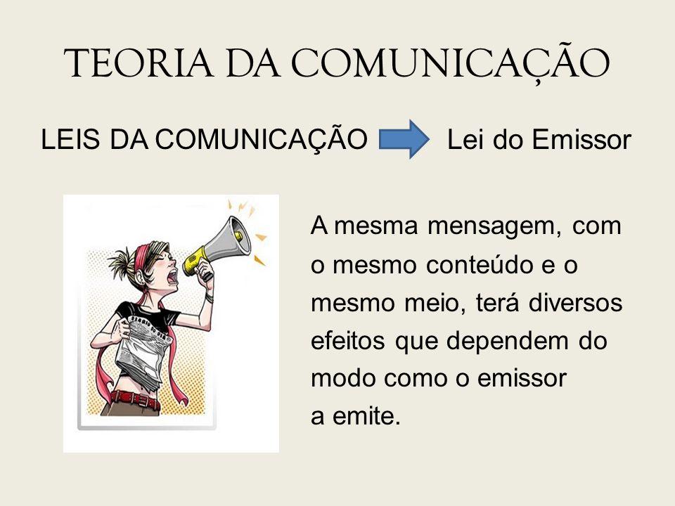 TEORIA DA COMUNICAÇÃO LEIS DA COMUNICAÇÃO Lei do Emissor A mesma mensagem, com o mesmo conteúdo e o mesmo meio, terá diversos efeitos que dependem do