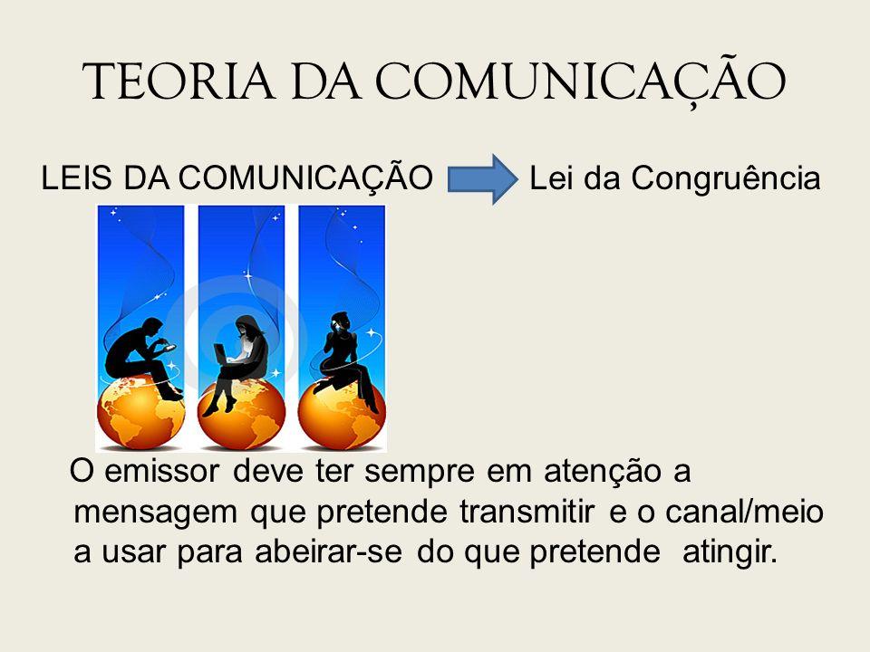 TEORIA DA COMUNICAÇÃO LEIS DA COMUNICAÇÃO Lei da Congruência O emissor deve ter sempre em atenção a mensagem que pretende transmitir e o canal/meio a