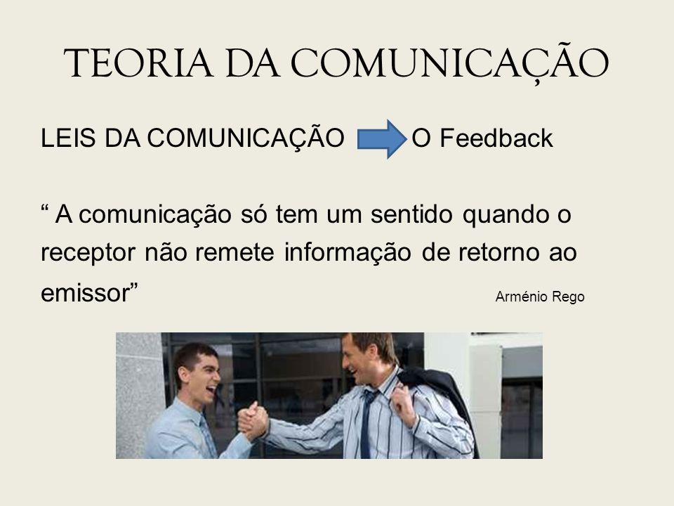 TEORIA DA COMUNICAÇÃO LEIS DA COMUNICAÇÃO O Feedback A comunicação só tem um sentido quando o receptor não remete informação de retorno ao emissor Arm