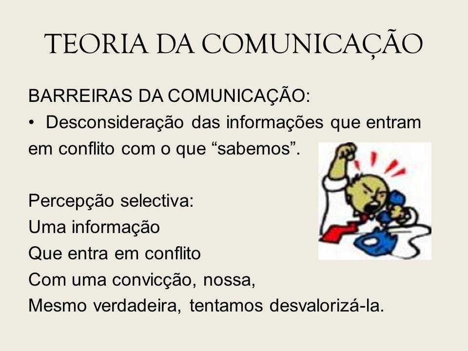 TEORIA DA COMUNICAÇÃO BARREIRAS DA COMUNICAÇÃO: Desconsideração das informações que entram em conflito com o que sabemos. Percepção selectiva: Uma inf